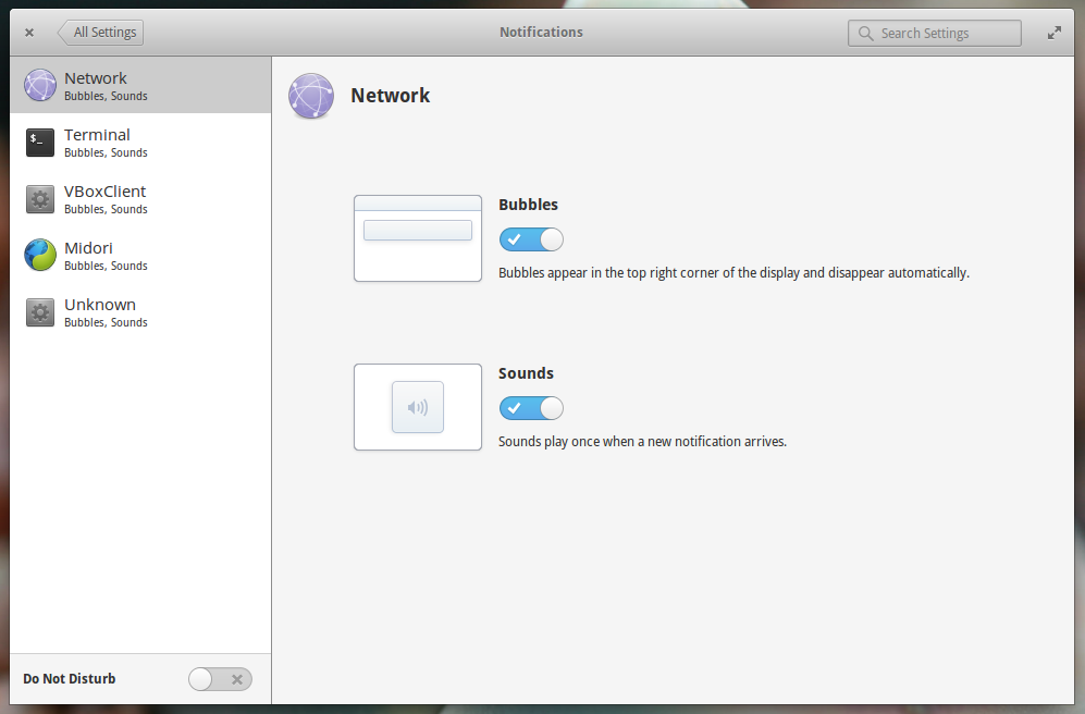 elementary OS Notifications Settings