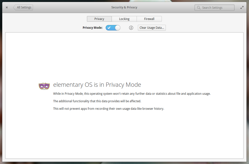 elementary OS Privacy Settings