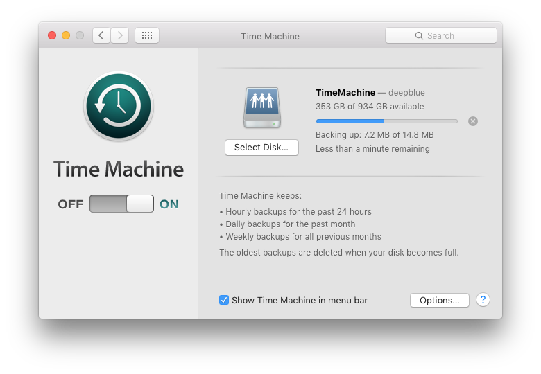 Screenshot of mac OS Time Machine